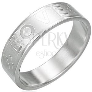Ocelový prsten - LOVE, čtyřlístek