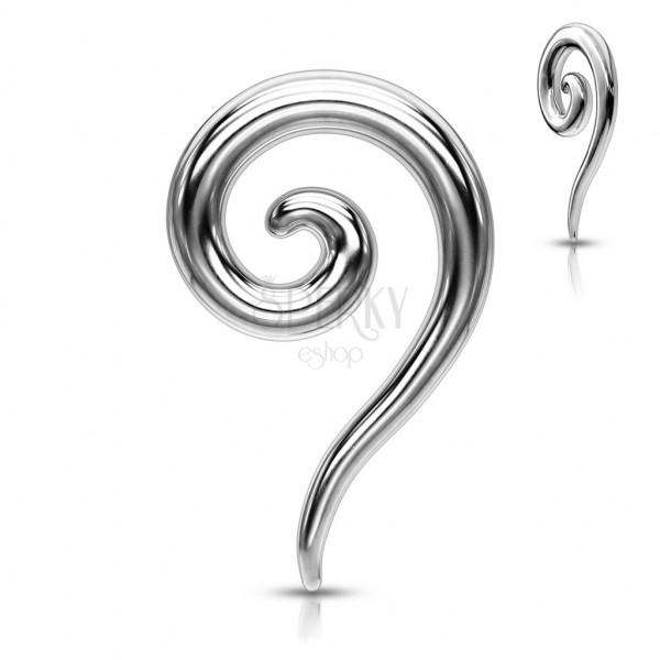Piercing do ucha z oceli - lesklá roztahovací spirála