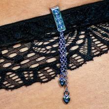 Šperk na plavky - visící srdíčko se zirkonem na řetízku