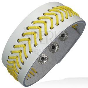 Prošívaný náramek z umělé kůže - žlutá šňůrka