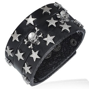Černý náramek z umělé kůže - hvězdy a lebky