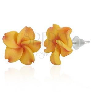 Puzetové FIMO náušnice - žluto-červený květ Plumerie