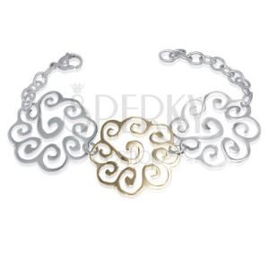 Ocelový náramek - dekorativní spirálové květy
