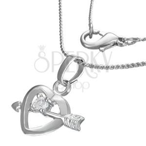 Náhrdelník - otevřené srdce a šíp, čirý zirkon