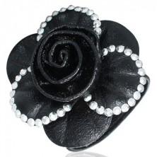 Černý náramek - veliká růže lemovaná s 3D glitry