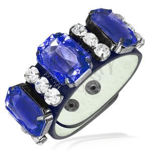 Kožený náramek - tři královsky modré kameny