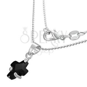 Náhrdelník - černý zirkonový křížek