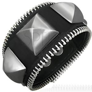 Zipový náramek - veliké kovové pyramidy