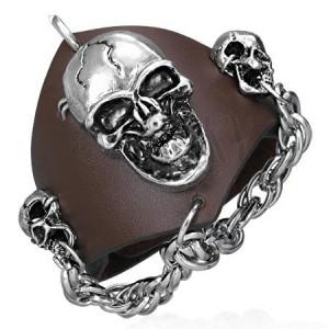 Vampírský kožený náramek - řetěz s lebkami