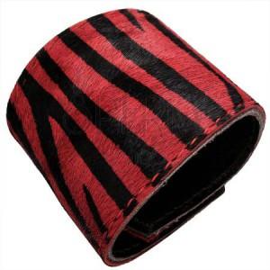 Koženkový náramek - tygrovaná kožešinka, červený