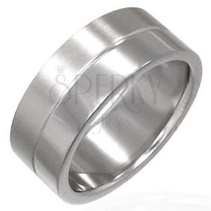 Prsten z chirurgické oceli -  matný s proužkem uprostřed