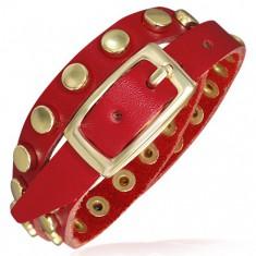 Červený kožený náramek - pásek se zlatými nýty U5.19