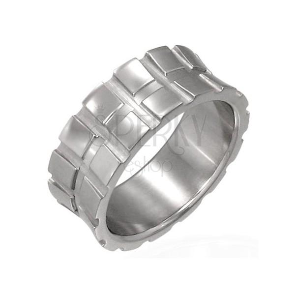 Prsten z chirurgické oceli - malé čtverce