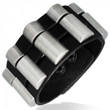 Náramek z imitace kůže - ozdobné kovové půlválce
