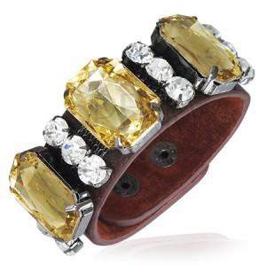 Náramek z kůže - mohutné zlaté kameny, čiré zirkony
