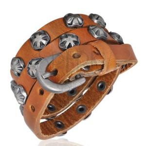 Úzký kožený náramek - Maltézský symbol, karamelový