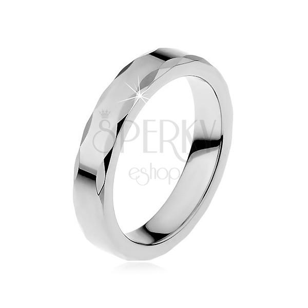 Dámský wolframový prsten se stužkovým okrajem