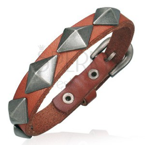 Náramek z kůže - úzký pás s velikými pyramidami