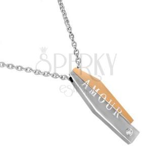 Ocelový náhrdelník - dvojdílný přívěsek s nápisem AMOUR