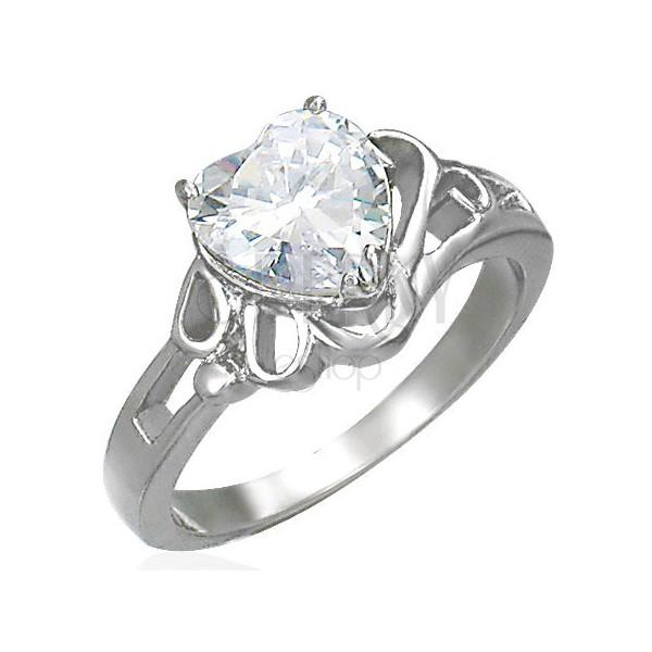 Dámský lesklý ocelový prsten, velké čiré zirkonové srdce