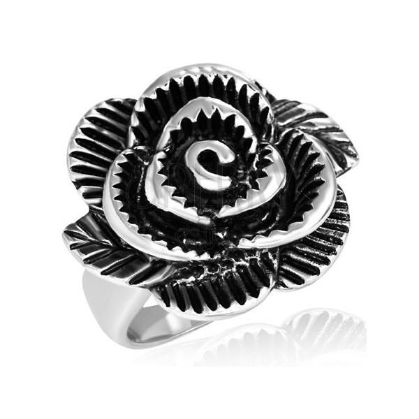 Dvoubarevný ocelový prsten - obrovská růže