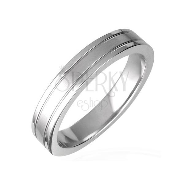 Prsten z chirurgické oceli rozdělený drážkami