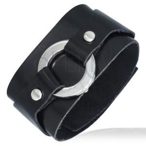 Černý kožený náramek - kulatá pracka
