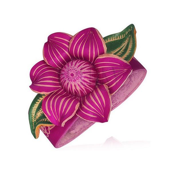 Růžový kožený náramek - mohutný lotosový květ