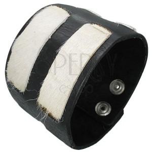 Kožený náramek - bílé kožešinkové pásy