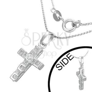 Náhrdelník - kříž, zirkon, řecký klíč