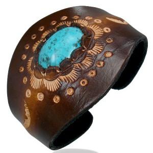 Kožený ohybný náramek - oválný tyrkysový kámen, ornamenty