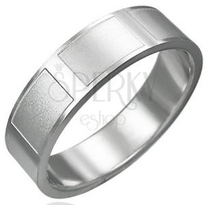 Prsten z chirurgické oceli lesklý, matné obdélníky
