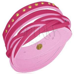 Kožený náramek - vybíjený, více šňůrek, pink
