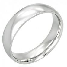 Prsten z chirurgické oceli - lesklý, oblý 6 mm