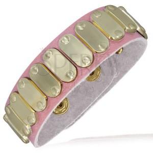 Světle růžový kožený náramek - zlaté ovály