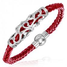 Pletený náramek - ornamentální známka, červené šňůrky