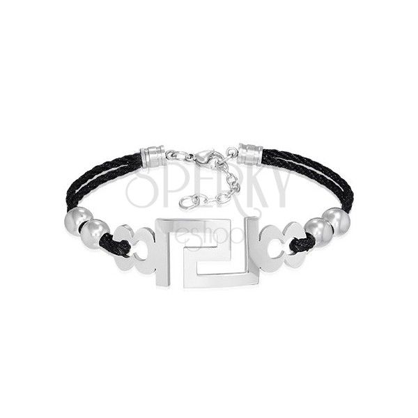 Ocelový náramek s pletenou šňůrkou - řecký symbol