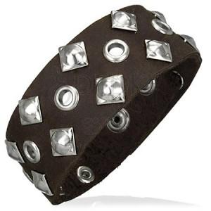 Kožený náramek - čtvercové nýty, dírky