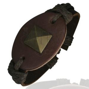 Náramek z kůže - ovál, veliká pyramida, hnědý