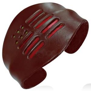 Ohybný náramek z kůže - červené pásky, zaoblený