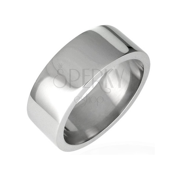 Ocelový prsten lesklý, rovný s hranou 8 mm