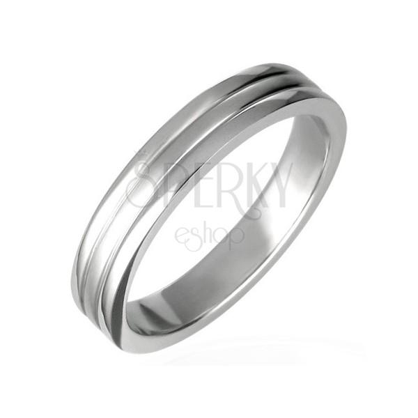 Ocelový prsten, lesklý s dvěma rýhami 6 mm