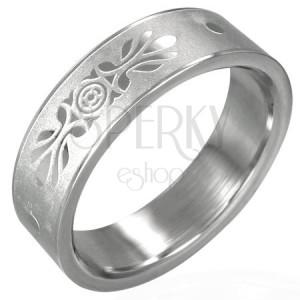 Ocelový prsten se symetrickou ozdobou, pískovaný