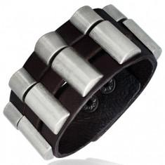 Náramek z kůže - trojdílný, zaoblené kovové díly U16.8