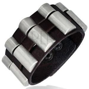 Náramek z kůže - trojdílný, zaoblené kovové díly