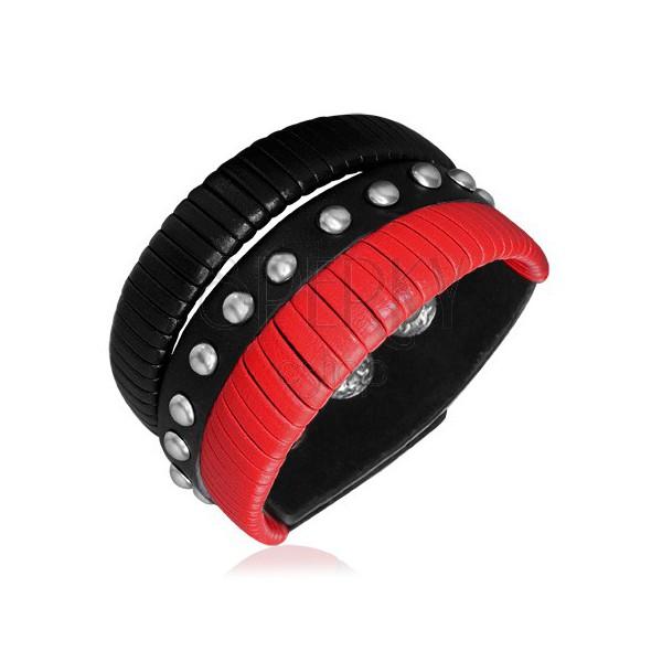 Kožený náramek - pásy s černou a červenou šňůrkou, nýty