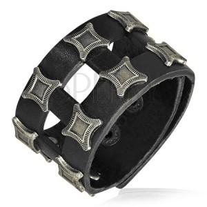 Kožený náramek s pásky - čtvercové zaoblené nýty, struktura