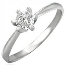 Zásnubní prsten s čirým zirkonem