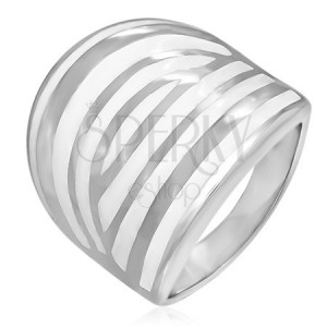 Ocelový prsten - bílá zebra, smaltovaný