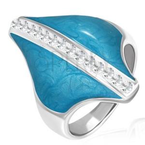 Ocelový prsten - modrý kosočtverec, zirkonový pás